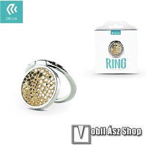DEVIA fém ujjtámasz, gyűrű tartó - Biztos fogás készülékéhez, strasszkővel díszített - EZÜST / ARANY kép