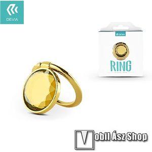 DEVIA fém ujjtámasz, gyűrű tartó - Biztos fogás készülékéhez, strasszkővel díszített - ARANY kép
