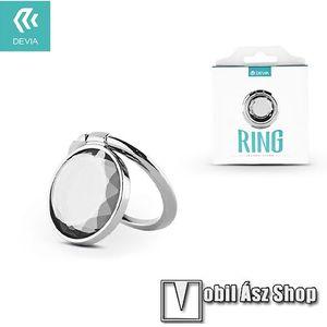 DEVIA fém ujjtámasz, gyűrű tartó - Biztos fogás készülékéhez, strasszkővel díszített - EZÜST kép