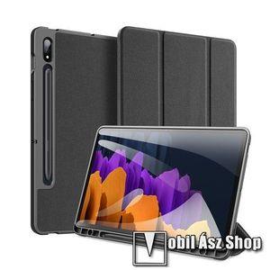 DUX DUCIS Domo Series notesz / mappa tok - FEKETE - oldalra nyíló flip cover, TRIFOLD asztali tartó funkciós, textillel bevont, belső ceruzatartó, mágneses záródás, szilikon belső - SAMSUNG Galaxy Tab S7 (SM-T870/T875/T876B) - GYÁRI kép