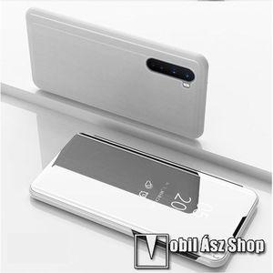 Notesz / flip tok - EZÜST - oldalra nyíló áttetsző tükrös flip cover, asztali tartó funkció, műanyag belső - OnePlus Nord kép