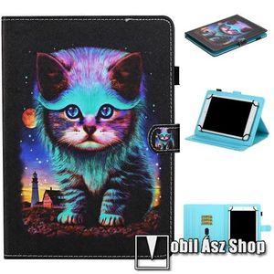 """UNIVERZÁLIS notesz / mappa tablet PC tok - MACSKA MINTÁS - álló, bőr, mágneses, asztali tartó funkciós, tolltartó, 10""""-os készülékekhez kép"""