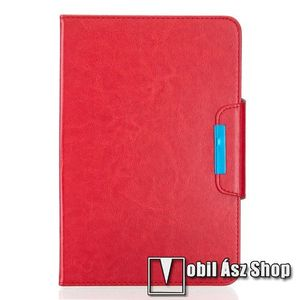 """UNIVERZÁLIS notesz / mappa tablet PC tok - PIROS - álló, bőr, rejtett mágneses záródás, bankkártyatartó zsebek, asztali tartó funkciós, ceruzatartó, 10-12""""-os készülékekhez ajánlott kép"""