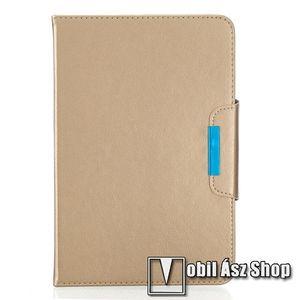 """UNIVERZÁLIS notesz / mappa tablet PC tok - ARANY - álló, bőr, rejtett mágneses záródás, bankkártyatartó zsebek, asztali tartó funkciós, ceruzatartó, 10-12""""-os készülékekhez ajánlott kép"""