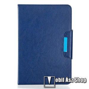 """UNIVERZÁLIS notesz / mappa tablet PC tok - SÖTÉTKÉK - álló, bőr, rejtett mágneses záródás, bankkártyatartó zsebek, asztali tartó funkciós, ceruzatartó, 10-12""""-os készülékekhez ajánlott kép"""