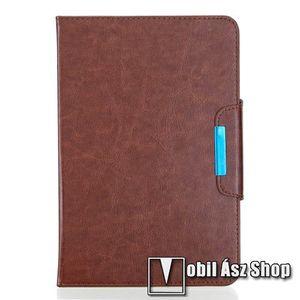 """UNIVERZÁLIS notesz / mappa tablet PC tok - BARNA - álló, bőr, rejtett mágneses záródás, bankkártyatartó zsebek, asztali tartó funkciós, ceruzatartó, 10-12""""-os készülékekhez ajánlott kép"""