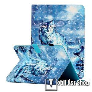 """UNIVERZÁLIS notesz / mappa tablet PC tok - FARKAS MINTÁS - álló, bőr, mágneses, asztali tartó funkciós, tolltartó, 10""""-os készülékekhez, KÜLSŐ MÉRET 273 x 195 x 20mm kép"""