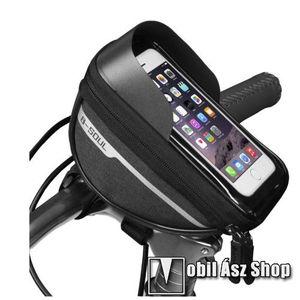 """B-SOUL UNIVERZÁLIS biciklis / kerékpáros tartó konzol mobiltelefon készülékekhez - cseppálló védő tokos kialakítás, cipzár, tépőzáras, napellenző, 6.4""""-os készülékekhez ajánlott - FEKETE - 185 x 95 x 85mm kép"""