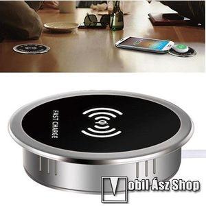 QI Wireless hálózati töltő állomás vezeték nélküli töltéshez - asztalba süllyeszthető, vízálló, gyorstöltés támogatás, 15W(max!), fogadóegység nélkül! - FEKETE kép