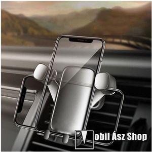 """UNIVERZÁLIS Gravity autós / gépkocsi tartó - SZÜRKE - szellőzőrácsra rögzíthető, állítva és fektetve is belehelyezhető a készülék, 4-6.5""""-os készülékekhez ajánlott kép"""