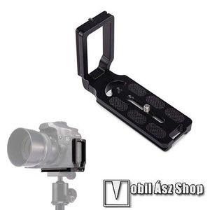 """UNIVERZÁLIS fényképezőgép tartó fotózáshoz - állványra rögzíthető, alumínium, 360 fokban forgatható, univerzális 1/4""""-es csatlakozó - FEKETE - 110 x 38 x 75mm kép"""