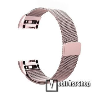 Fém okosóra szíj - 200mm hosszú, 18mm széles - ROSE GOLD - Fitbit Charge 2 kép