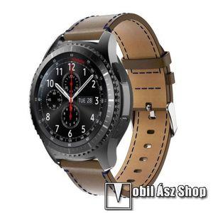 Okosóra szíj - BARNA - valódi bőr - 80mm + 100mm hosszú, 22mm széles - SAMSUNG Galaxy Watch 46mm / SAMSUNG Gear S3 Classic / SAMSUNG Gear S3 Frontier kép