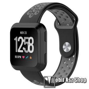Okosóra szíj - légáteresztő, sportoláshoz - FEKETE / SZÜRKE - 23mm széles - Fitbit Versa / Fitbit Versa Lite / Fitbit Versa 2 kép