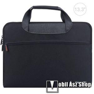 """HAWEEL UNIVERZÁLIS Laptop tok / táska - FEKETE - vízálló szövet, bársony belső, különálló zsebekkel, dupla cipzár, ütődésálló, hordozható - ERŐS VÉDELEM! - 355 x 260 x 250mm - Max 13, 3""""-os készülékekhez kép"""
