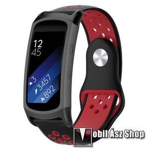 Okosóra szíj - légáteresztő, sportoláshoz, szilikon - FEKETE / PIROS - 95mm + 100mm hosszú, 18mm széles - SAMSUNG Gear Fit 2 SM-R360 / Samsung Gear Fit 2 Pro SM-R365 kép