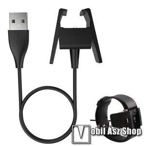 Okosóra USB töltő - FEKETE - 5V/500mA, csipeszes, 49cm - Fitbit Charge 2 kép