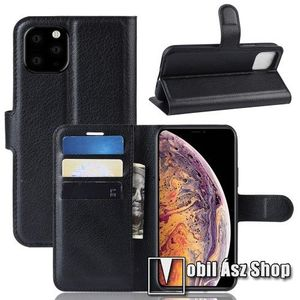WALLET notesz tok / flip tok - FEKETE - asztali tartó funkciós, oldalra nyíló, rejtett mágneses záródás, bankkártyatartó zseb, szilikon belső - APPLE iPhone 11 Pro Max kép