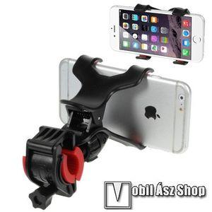 UNIVERZÁLIS biciklis / kerékpáros tartó konzol mobiltelefon készülékekhez - 360°-ban forgatható, csipeszes tartó rész, 12-18mm átmérőjű kormányra alkalmas - FEKETE kép