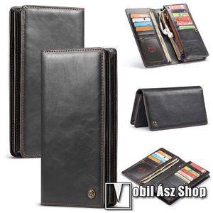 """CASEME UNIVERZÁLIS pénztárca tok - PU bőr, oldalra nyíló, cipzáras zsebbel és telefontartóval, bankkártya tartó zsebek, max. 6.5""""-os készülékekhez - FEKETE kép"""