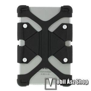 """UNIVERZÁLIS tablet PC szilikon védő tok - asztali kitámasztó funkciós, 8, 9-12"""" colos készülékekig - FEKETE kép"""