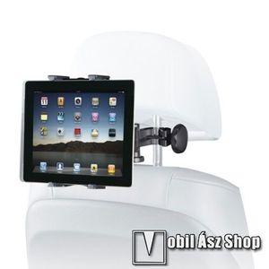 """UNIVERZÁLIS tablet PC gépkocsi / autós tartó - 360°-ban elforgatható, fejtámlára szerelhető tartóval, 7-12""""-os készülékekig - FEKETE kép"""