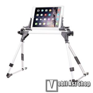 """UNIVERZÁLIS Tablet PC / telefon tartó / állvány - FEKETE / EZÜST - 360 °-fokban forgatható, alumínium, állítható magasság 27-35cm-ig, max 52cm szélesség, összecsukható 40x10cm, 4-7"""" 9-10.5""""-os készülékekkel használható kép"""