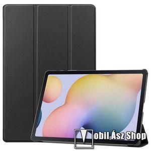 Notesz / mappa tok - FEKETE - oldalra nyíló flip cover, TRIFOLD asztali tartó funkciós, erősített sarkok, műanyag belső - SAMSUNG Galaxy Tab S7 Plus (SM-T970/T976B) kép