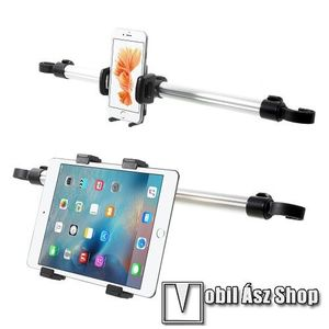 UNIVERZÁLIS autós telefon és tablet PC tartó - fejtámla rúdra rögzíthető, 52- 86mm-ig állítható mobil és 104-197mm-ig állítható tablet bölcsővel, állítható fejtámlák közti rögzítő sínnel kép