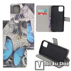 Notesz / mappa tok - KÉK PILLANGÓ MINTÁS - oldalra nyíló, rejtett mágneses záródás, belső zseb, asztali tartó funkció, szilikon belső - APPLE iPhone 11 Pro kép