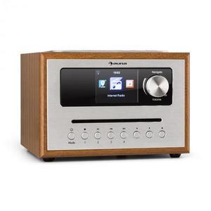Auna Silver Star CD Cube, rádió, bluetooth, HCC kijelző, fa, barna kép