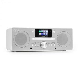Auna Harvard, kompakt rendszer, internet/DAB+ és UKW rádió, CD lejátszó, bluetooth, fehér kép