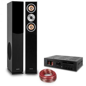 """Auna """"Music Glow"""", HiFi összeállítás, 2 oszlop hangfal + csöves HiFi erősítő + kábel kép"""