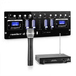 Resident DJ resident DJ405USB-BK, 4-csatornás DJ keverőpult, mellékelve 1-csatornás VHF vezeték nélküli mikrofon kép