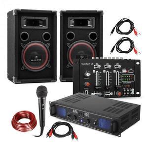 Electronic-Star DJ-14 USB, DJ PA szett, USB keverőpult, PA erősítő, 2 x hangfal, mikrofon, fekete kép