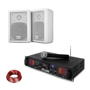 Skytec SPL 300 WHF, PA erősítő, 2 hangfal, hangfal kábel, fehér kép