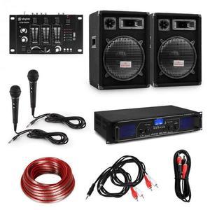 """Electronic-Star HiFi DJ PA party szett, erősítő, 2 x 12"""" hangfal, keverőpult, 2 mikrofon kép"""