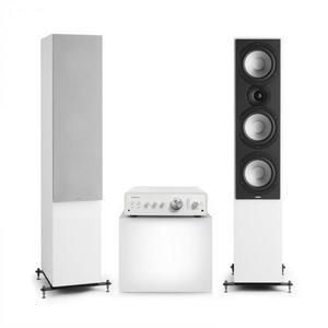 Numan Drive 801, sztereó készlet, sztereó erősítő, torony hangfal, fehér/szürke kép