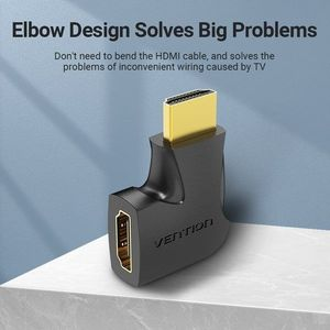 Vention HDMI 90 Degree Male to Female Vertical Flat Adapter, fekete kép