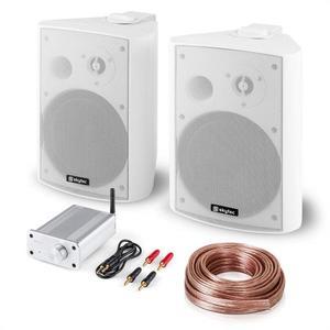 Skytec Bluetooth Play WH, PA HiFi készlet, két hangfal, mini erősítő bluetooth-tal, kábel kép
