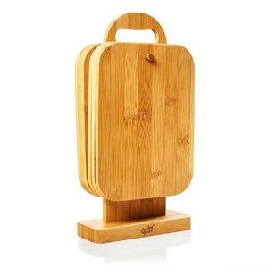 Klarstein 6 darabos bambusz reggeliző deszka készlet állvánnyal, 22 x 0, 9 x 16 cm (SZ x M x M), egyszerű karbantartás kép