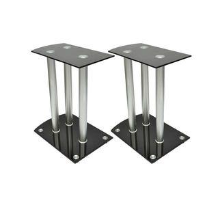 vidaXL Alumínium Hangfal állványok Fekete üveg 2db kép